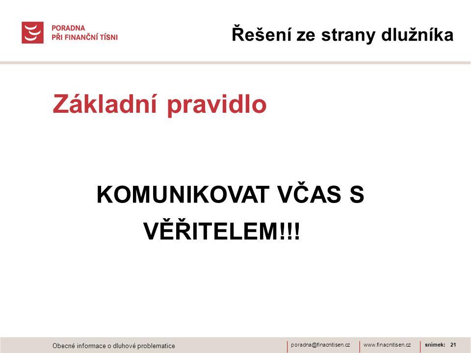 www.finacnitisen.czporadna@finacnitisen.cz Řešení ze strany dlužníka Základní pravidlo snímek: 21 KOMUNIKOVAT VČAS S VĚŘITELEM!!.