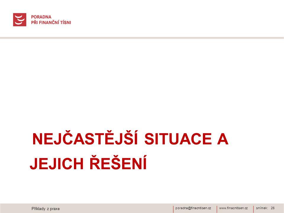 www.finacnitisen.czporadna@finacnitisen.cz NEJČASTĚJŠÍ SITUACE A JEJICH ŘEŠENÍ snímek: 26 Příklady z praxe