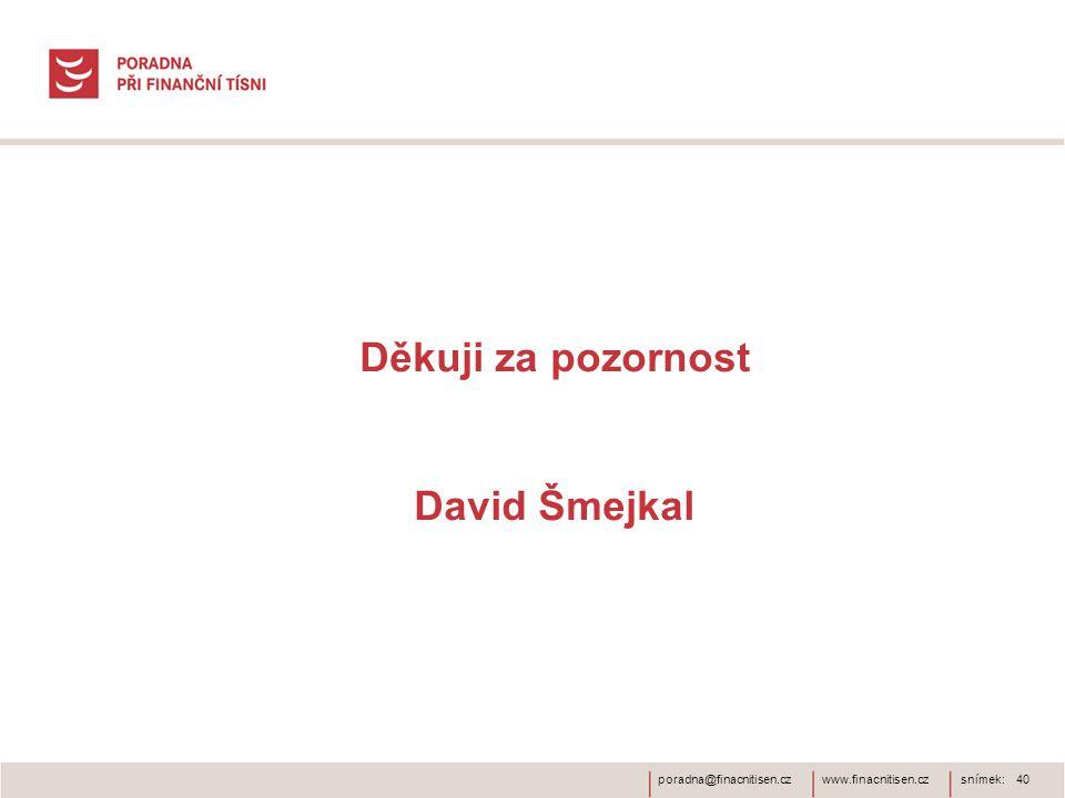 www.finacnitisen.czporadna@finacnitisen.czsnímek: 40 Děkuji za pozornost David Šmejkal