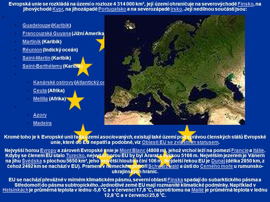 Evropská unie se rozkládá na území o rozloze 4 314 000 km², její území ohraničuje na severovýchodě Finsko, na jihovýchodě Kypr, na jihozápadě Portugalsko a na severozápadě Irsko.