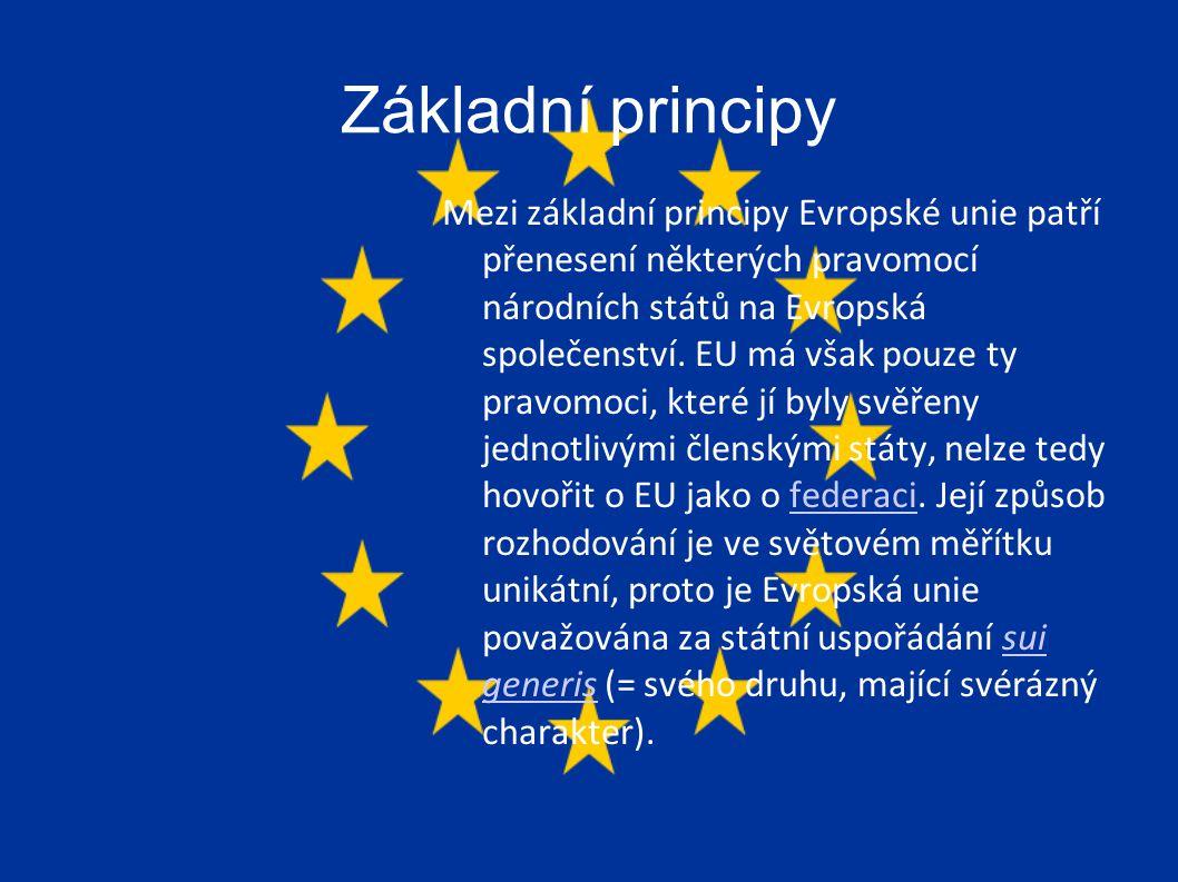 Základní principy Mezi základní principy Evropské unie patří přenesení některých pravomocí národních států na Evropská společenství.