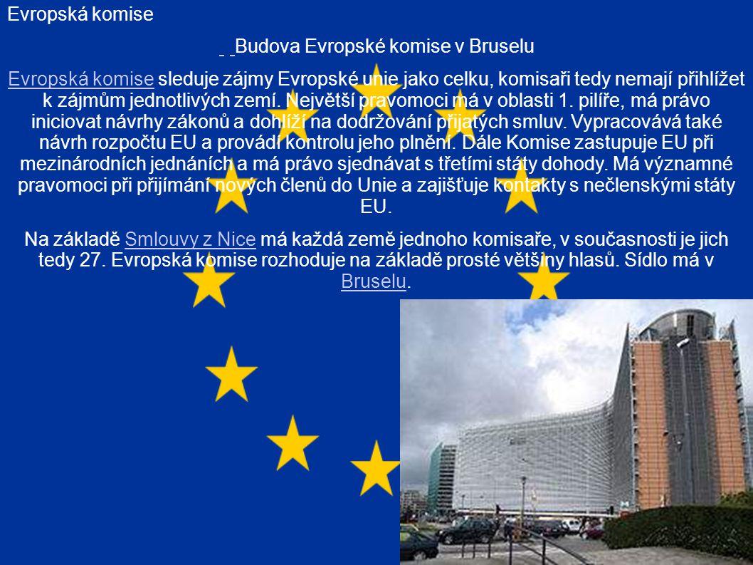 Evropská komise Budova Evropské komise v Bruselu Evropská komiseEvropská komise sleduje zájmy Evropské unie jako celku, komisaři tedy nemají přihlížet k zájmům jednotlivých zemí.