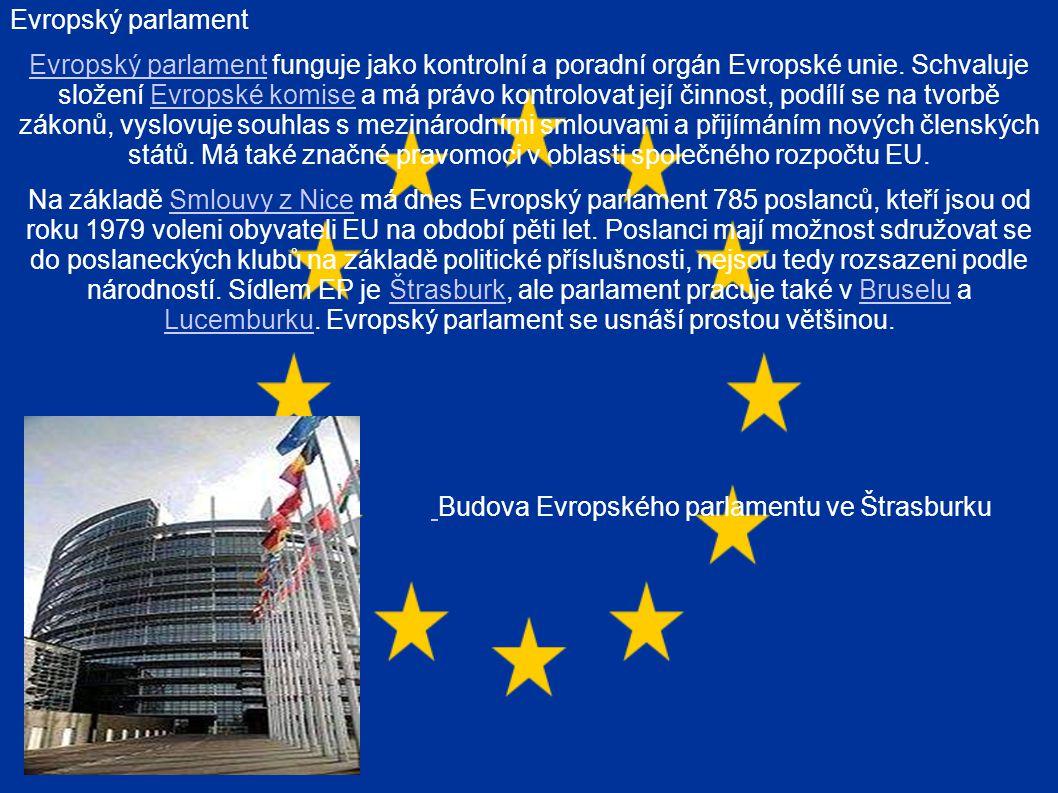 Evropský parlament Evropský parlament funguje jako kontrolní a poradní orgán Evropské unie.