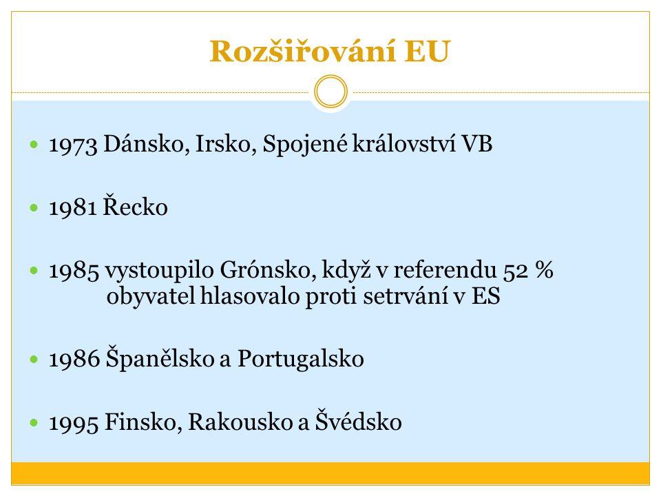 Rozšiřování EU 1973 Dánsko, Irsko, Spojené království VB 1981 Řecko 1985 vystoupilo Grónsko, když v referendu 52 % obyvatel hlasovalo proti setrvání v