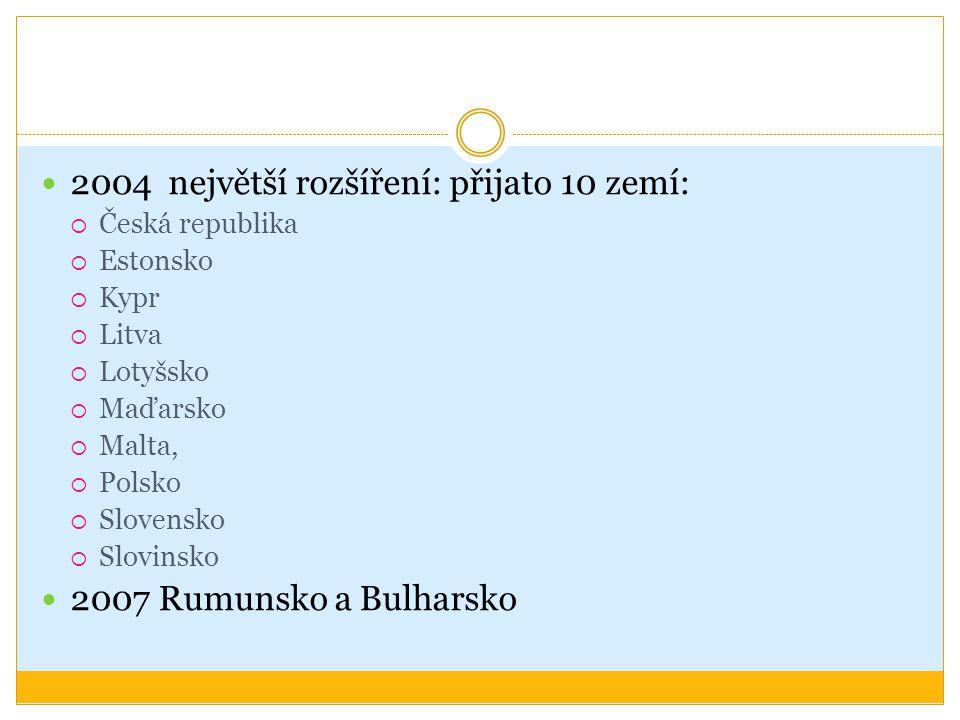 2004 největší rozšíření: přijato 10 zemí:  Česká republika  Estonsko  Kypr  Litva  Lotyšsko  Maďarsko  Malta,  Polsko  Slovensko  Slovinsko