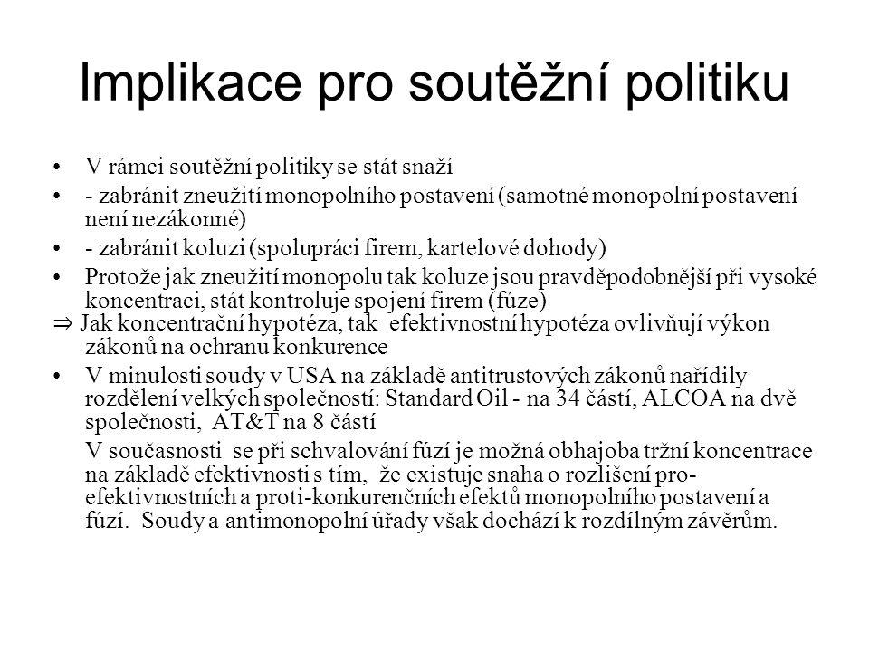 Implikace pro soutěžní politiku V rámci soutěžní politiky se stát snaží - zabránit zneužití monopolního postavení (samotné monopolní postavení není ne