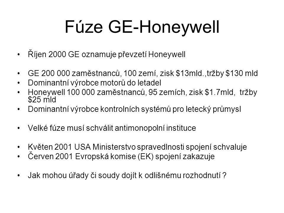 Fúze GE-Honeywell Říjen 2000 GE oznamuje převzetí Honeywell GE 200 000 zaměstnanců, 100 zemí, zisk $13mld.,tržby $130 mld Dominantní výrobce motorů do letadel Honeywell 100 000 zaměstnanců, 95 zemích, zisk $1.7mld, tržby $25 mld Dominantní výrobce kontrolních systémů pro letecký průmysl Velké fúze musí schválit antimonopolní instituce Květen 2001 USA Ministerstvo spravedlnosti spojení schvaluje Červen 2001 Evropská komise (EK) spojení zakazuje Jak mohou úřady či soudy dojít k odlišnému rozhodnutí ?