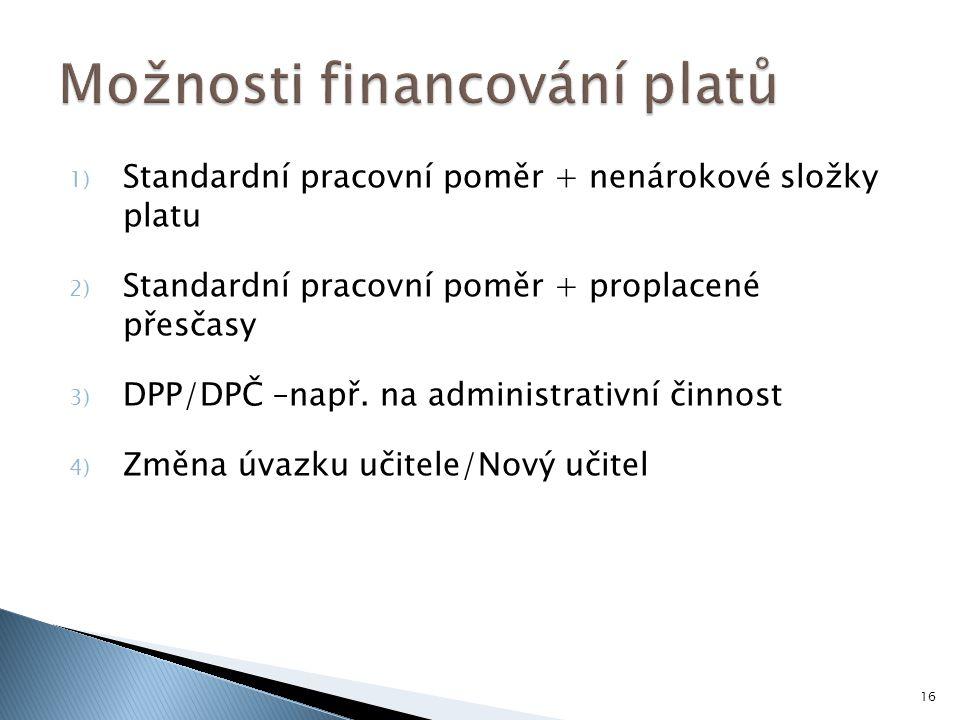 1) Standardní pracovní poměr + nenárokové složky platu 2) Standardní pracovní poměr + proplacené přesčasy 3) DPP/DPČ –např.