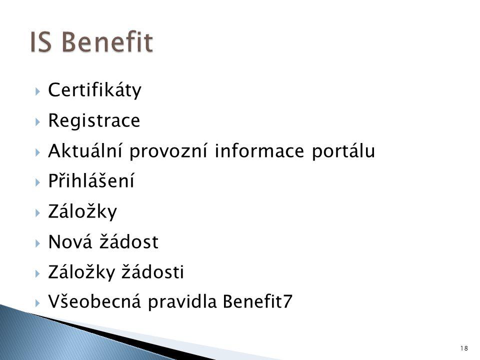  Certifikáty  Registrace  Aktuální provozní informace portálu  Přihlášení  Záložky  Nová žádost  Záložky žádosti  Všeobecná pravidla Benefit7 18