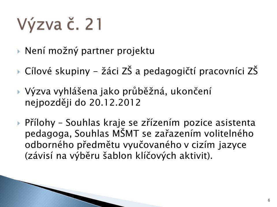  Není možný partner projektu  Cílové skupiny - žáci ZŠ a pedagogičtí pracovníci ZŠ  Výzva vyhlášena jako průběžná, ukončení nejpozději do 20.12.2012  Přílohy – Souhlas kraje se zřízením pozice asistenta pedagoga, Souhlas MŠMT se zařazením volitelného odborného předmětu vyučovaného v cizím jazyce (závisí na výběru šablon klíčových aktivit).