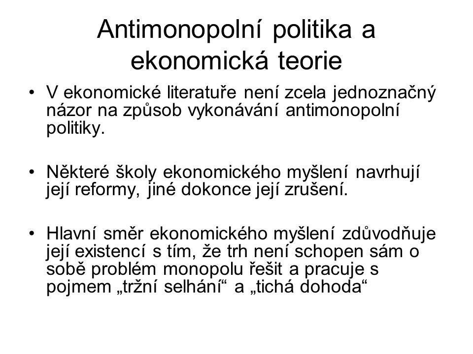 Antimonopolní politika a ekonomická teorie V ekonomické literatuře není zcela jednoznačný názor na způsob vykonávání antimonopolní politiky. Některé š