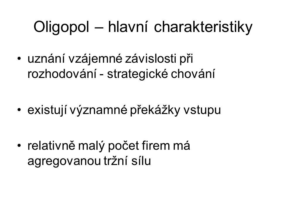 Oligopol – hlavní charakteristiky uznání vzájemné závislosti při rozhodování - strategické chování existují významné překážky vstupu relativně malý po