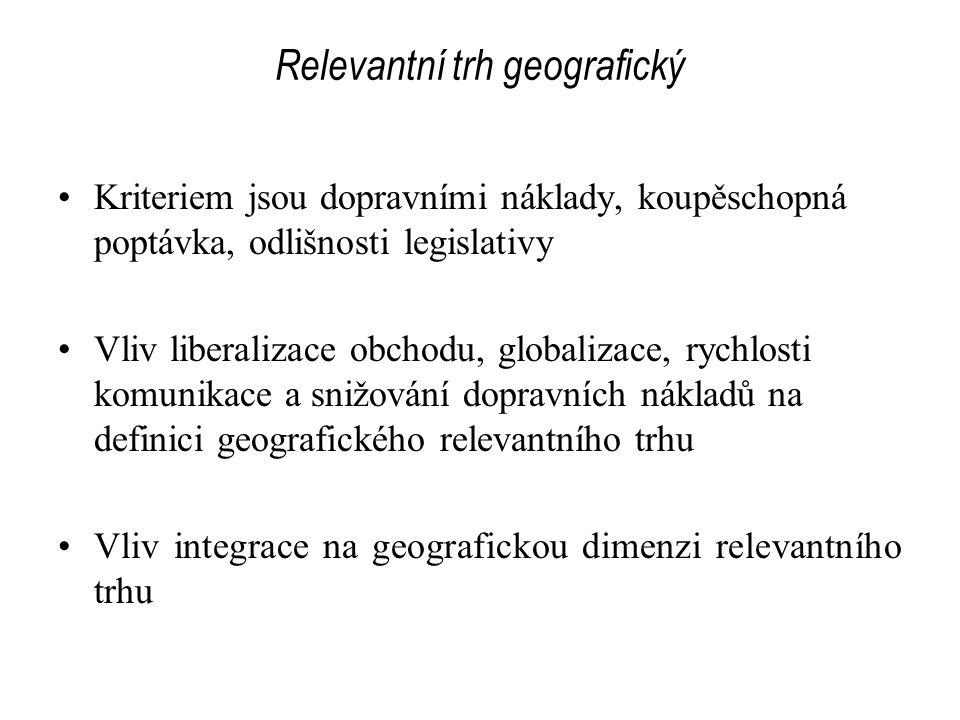 Relevantní trh geografický Kriteriem jsou dopravními náklady, koupěschopná poptávka, odlišnosti legislativy Vliv liberalizace obchodu, globalizace, ry