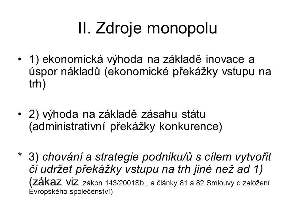 II. Zdroje monopolu 1) ekonomická výhoda na základě inovace a úspor nákladů (ekonomické překážky vstupu na trh) 2) výhoda na základě zásahu státu (adm