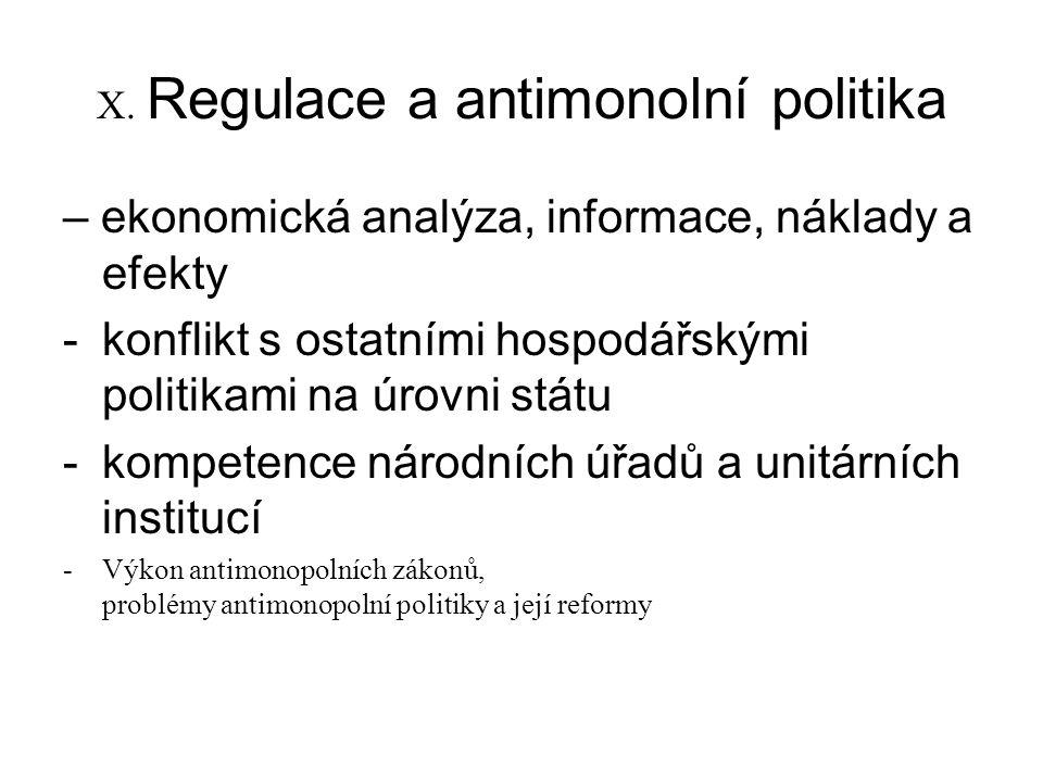 X. Regulace a antimonolní politika – ekonomická analýza, informace, náklady a efekty -konflikt s ostatními hospodářskými politikami na úrovni státu -k