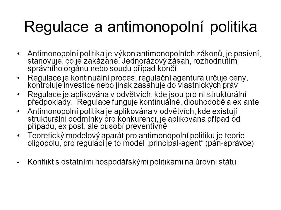 Regulace a antimonopolní politika Antimonopolní politika je výkon antimonopolních zákonů, je pasivní, stanovuje, co je zakázané. Jednorázový zásah, ro