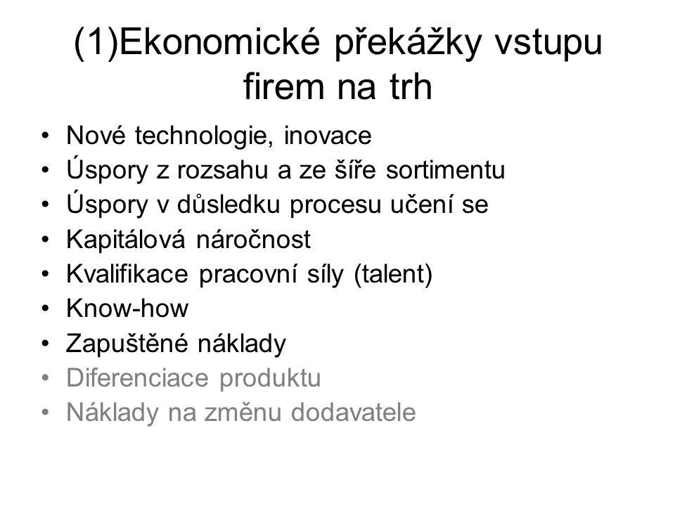 (1)Ekonomické překážky vstupu firem na trh Nové technologie, inovace Úspory z rozsahu a ze šíře sortimentu Úspory v důsledku procesu učení se Kapitálo
