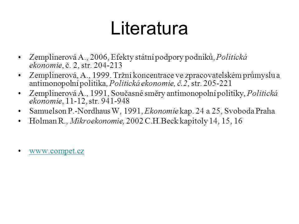 Literatura Zemplinerová A., 2006, Efekty státní podpory podniků, Politická ekonomie, č. 2, str. 204-213 Zemplinerová, A., 1999. Tržní koncentrace ve z