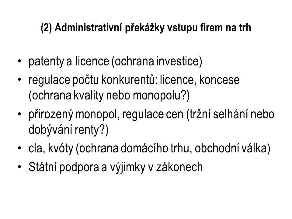 (2) Administrativní překážky vstupu firem na trh patenty a licence (ochrana investice) regulace počtu konkurentů: licence, koncese (ochrana kvality ne