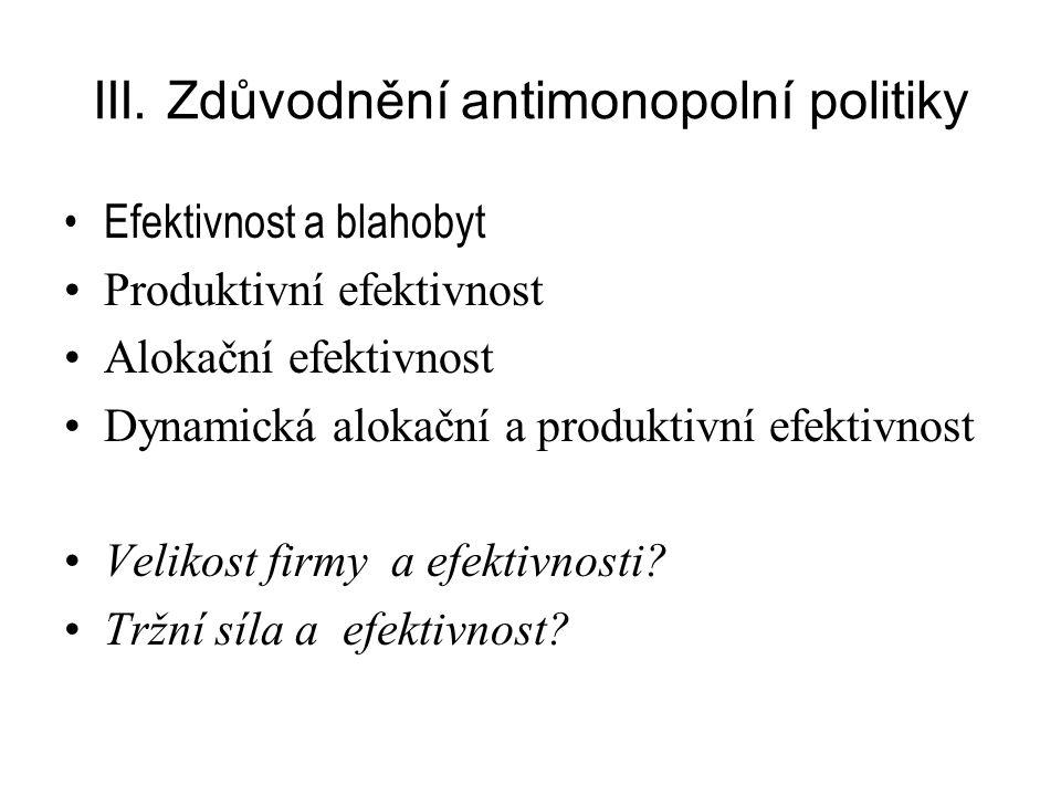 III. Zdůvodnění antimonopolní politiky Efektivnost a blahobyt Produktivní efektivnost Alokační efektivnost Dynamická alokační a produktivní efektivnos
