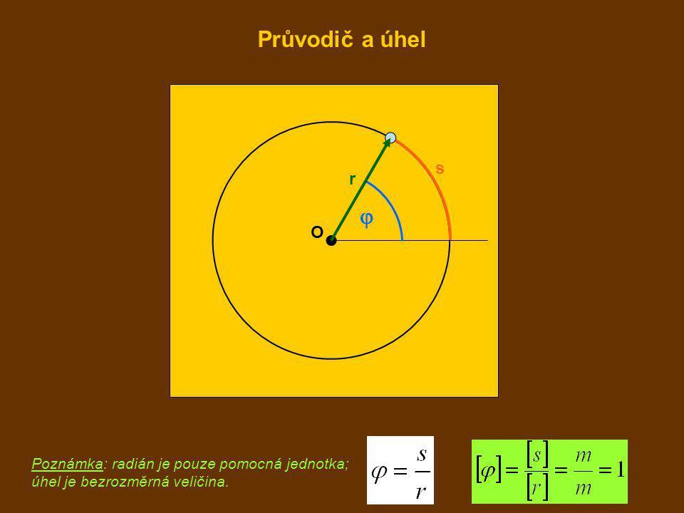 O  r s Poznámka: radián je pouze pomocná jednotka; úhel je bezrozměrná veličina. Průvodič a úhel