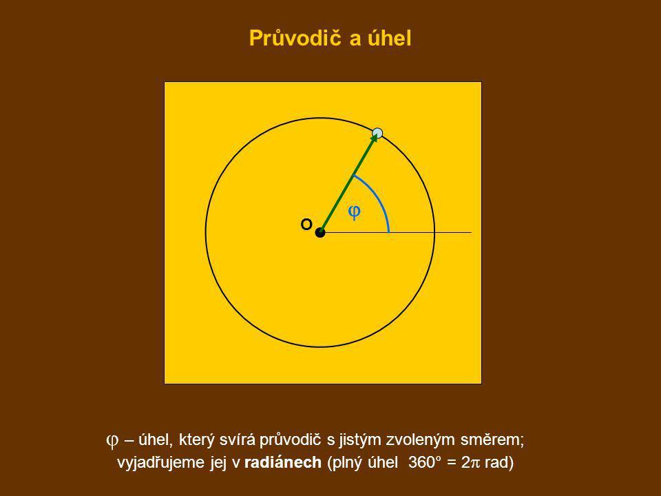  – úhel, který svírá průvodič s jistým zvoleným směrem; vyjadřujeme jej v radiánech (plný úhel 360° = 2  rad) O  Průvodič a úhel