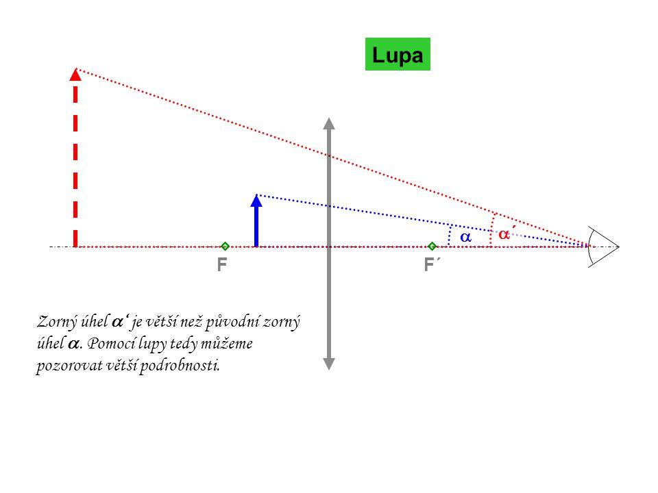 Lupa  ´´ F´F Zorný úhel  ' je větší než původní zorný úhel . Pomocí lupy tedy můžeme pozorovat větší podrobnosti.