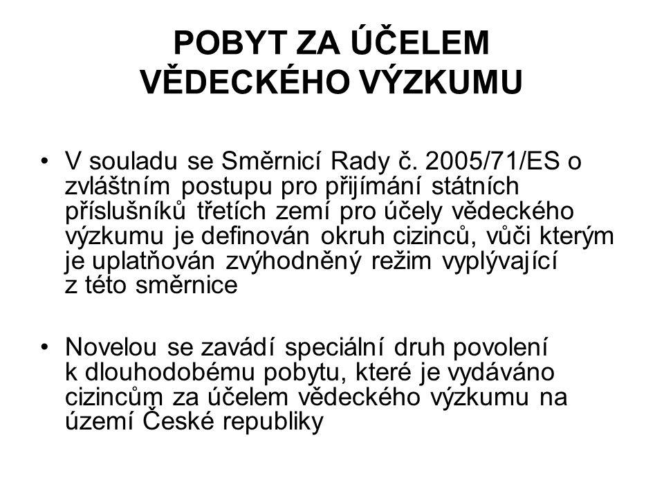 POBYT ZA ÚČELEM VĚDECKÉHO VÝZKUMU V souladu se Směrnicí Rady č.