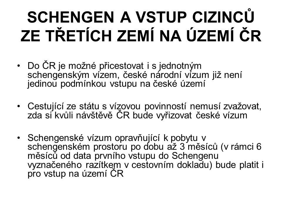 SCHENGEN A VSTUP CIZINCŮ ZE TŘETÍCH ZEMÍ NA ÚZEMÍ ČR Do ČR je možné přicestovat i s jednotným schengenským vízem, české národní vízum již není jedinou podmínkou vstupu na české území Cestující ze státu s vízovou povinností nemusí zvažovat, zda si kvůli návštěvě ČR bude vyřizovat české vízum Schengenské vízum opravňující k pobytu v schengenském prostoru po dobu až 3 měsíců (v rámci 6 měsíců od data prvního vstupu do Schengenu vyznačeného razítkem v cestovním dokladu) bude platit i pro vstup na území ČR