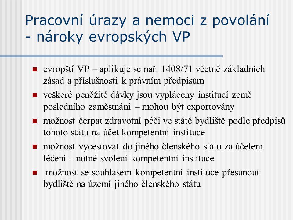 Pracovní úrazy a nemoci z povolání - nároky evropských VP evropští VP – aplikuje se nař. 1408/71 včetně základních zásad a příslušnosti k právním před