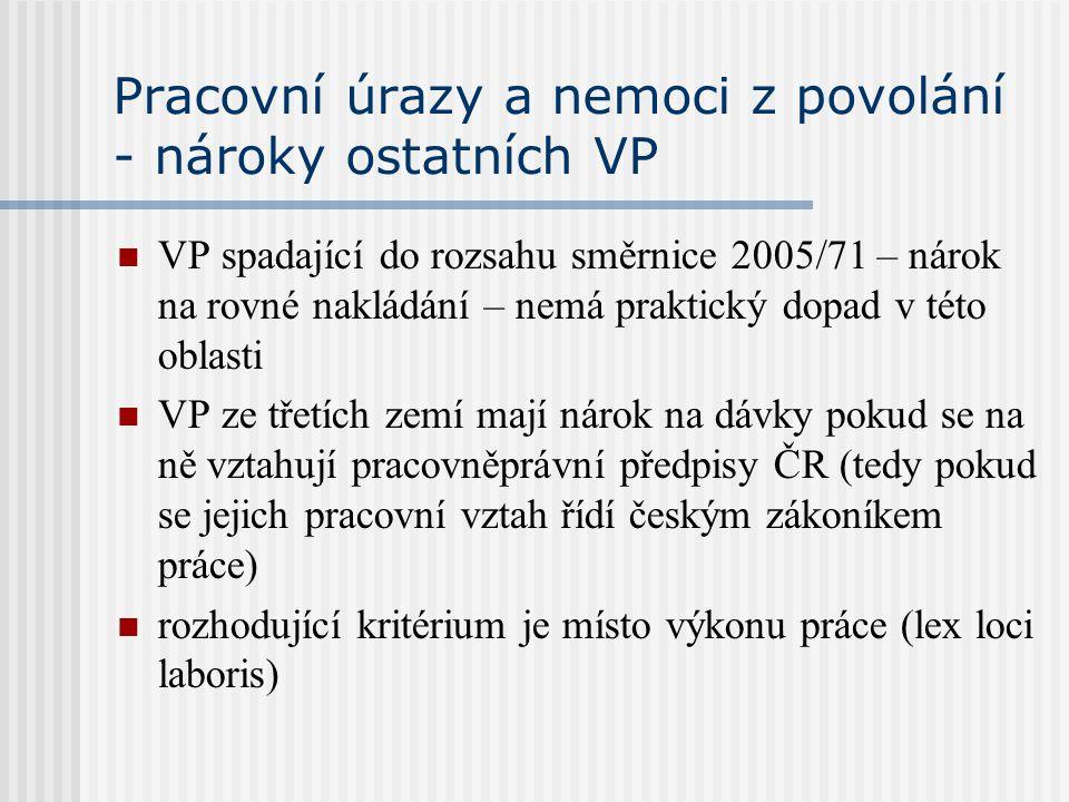 Pracovní úrazy a nemoci z povolání - nároky ostatních VP VP spadající do rozsahu směrnice 2005/71 – nárok na rovné nakládání – nemá praktický dopad v
