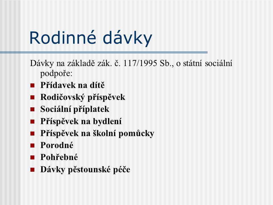 Rodinné dávky Dávky na základě zák. č. 117/1995 Sb., o státní sociální podpoře: Přídavek na dítě Rodičovský příspěvek Sociální příplatek Příspěvek na