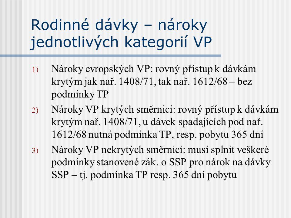 Rodinné dávky – nároky jednotlivých kategorií VP 1) Nároky evropských VP: rovný přístup k dávkám krytým jak nař. 1408/71, tak nař. 1612/68 – bez podmí