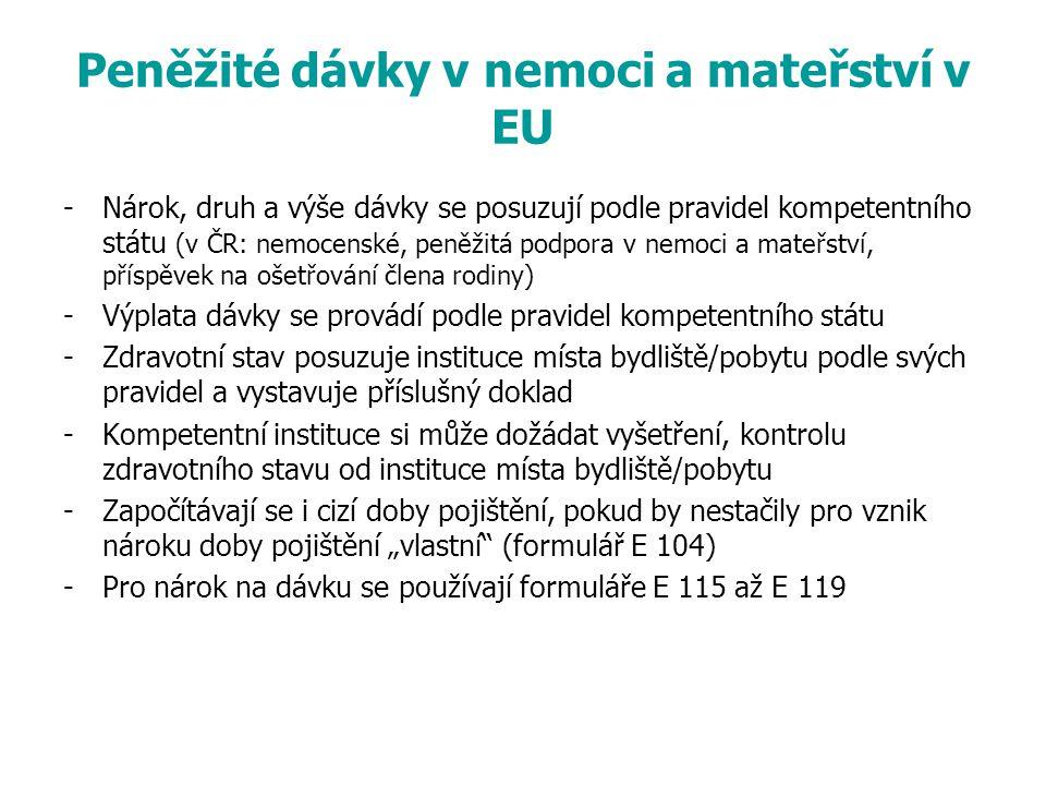 Peněžité dávky v nemoci a mateřství v EU -Nárok, druh a výše dávky se posuzují podle pravidel kompetentního státu (v ČR: nemocenské, peněžitá podpora