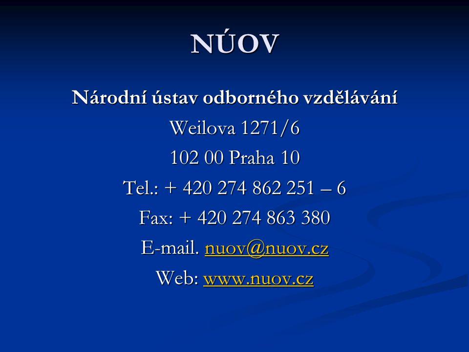 NÚOV Národní ústav odborného vzdělávání Weilova 1271/6 102 00 Praha 10 Tel.: + 420 274 862 251 – 6 Fax: + 420 274 863 380 E-mail.