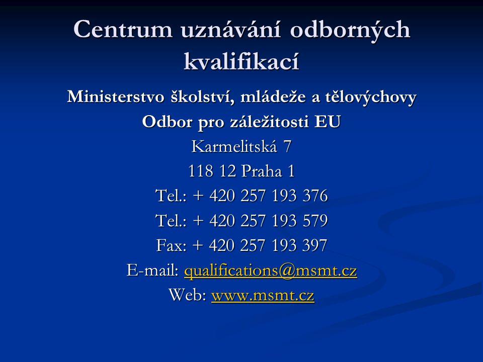 Implementace směrnice 2005/36/ES do českého právního řádu Odpovědný resort/hlavní gestor směrnice – MŠMT Odpovědný resort/hlavní gestor směrnice – MŠMT Spolugestorem a později gestorem MZd - příslušnost k zákonům 95/2004 a 96/2004 Spolugestorem a později gestorem MZd - příslušnost k zákonům 95/2004 a 96/2004 Změna velké části zákona č.