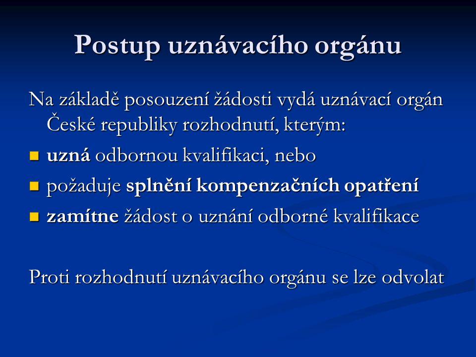 Postup uznávacího orgánu Na základě posouzení žádosti vydá uznávací orgán České republiky rozhodnutí, kterým: uzná odbornou kvalifikaci, nebo uzná odbornou kvalifikaci, nebo požaduje splnění kompenzačních opatření požaduje splnění kompenzačních opatření zamítne žádost o uznání odborné kvalifikace zamítne žádost o uznání odborné kvalifikace Proti rozhodnutí uznávacího orgánu se lze odvolat