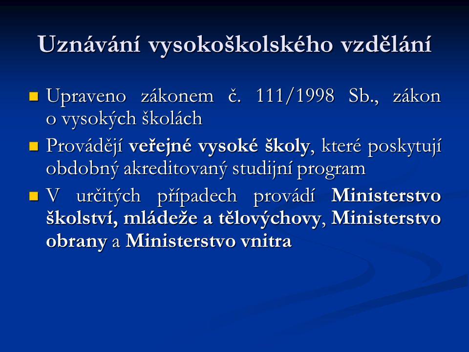 Uznávání základního, středního a vyššího odborného vzdělání Upraveno zákonem č.