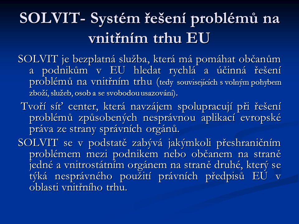 SOLVIT- Systém řešení problémů na vnitřním trhu EU SOLVIT je bezplatná služba, která má pomáhat občanům a podnikům v EU hledat rychlá a účinná řešení problémů na vnitřním trhu ( tedy souvisejících s volným pohybem zboží, služeb, osob a se svobodou usazování).