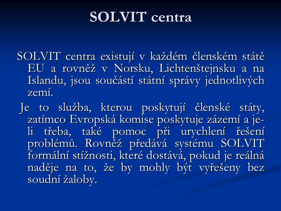 SOLVIT jako alternativní řešení sporů SOLVIT představuje alternativní řešení sporů.