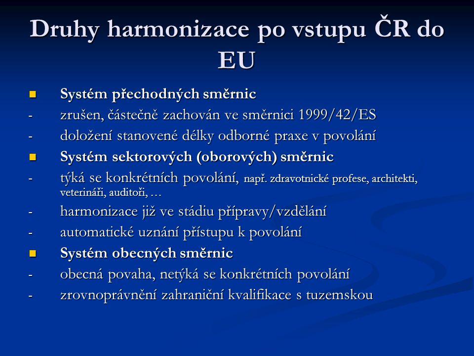 Druhy harmonizace po vstupu ČR do EU Systém přechodných směrnic Systém přechodných směrnic - zrušen, částečně zachován ve směrnici 1999/42/ES - doložení stanovené délky odborné praxe v povolání Systém sektorových (oborových) směrnic Systém sektorových (oborových) směrnic - týká se konkrétních povolání, např.