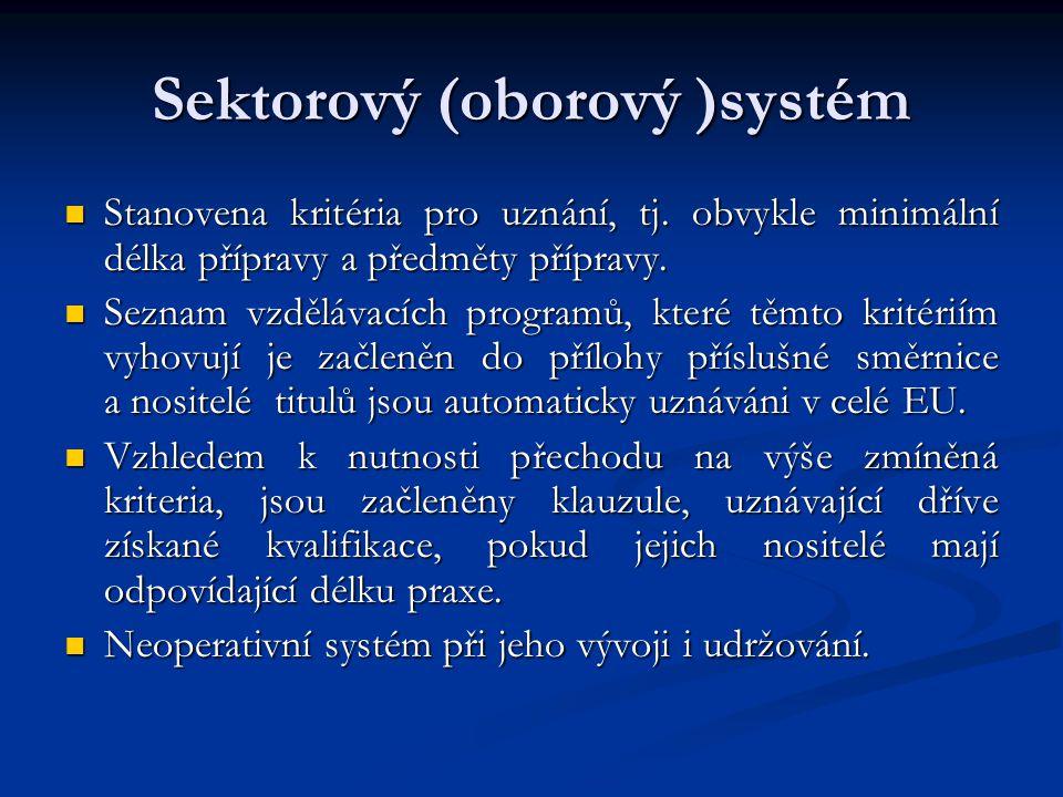 Sektorový (oborový )systém Stanovena kritéria pro uznání, tj.