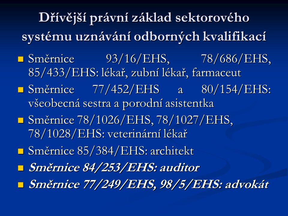 Dřívější právní základ sektorového systému uznávání odborných kvalifikací Směrnice 93/16/EHS, 78/686/EHS, 85/433/EHS: lékař, zubní lékař, farmaceut Směrnice 93/16/EHS, 78/686/EHS, 85/433/EHS: lékař, zubní lékař, farmaceut Směrnice 77/452/EHS a 80/154/EHS: všeobecná sestra a porodní asistentka Směrnice 77/452/EHS a 80/154/EHS: všeobecná sestra a porodní asistentka Směrnice 78/1026/EHS, 78/1027/EHS, 78/1028/EHS: veterinární lékař Směrnice 78/1026/EHS, 78/1027/EHS, 78/1028/EHS: veterinární lékař Směrnice 85/384/EHS: architekt Směrnice 85/384/EHS: architekt Směrnice 84/253/EHS: auditor Směrnice 84/253/EHS: auditor Směrnice 77/249/EHS, 98/5/EHS: advokát Směrnice 77/249/EHS, 98/5/EHS: advokát