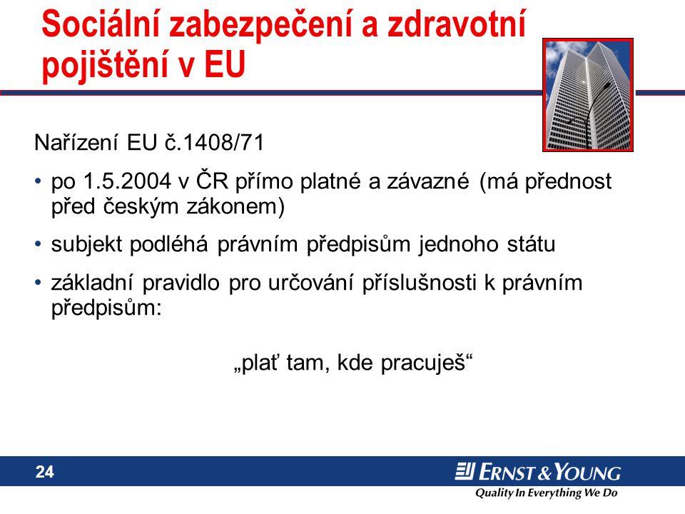 24 Sociální zabezpečení a zdravotní pojištění v EU Nařízení EU č.1408/71 po 1.5.2004 v ČR přímo platné a závazné (má přednost před českým zákonem) sub