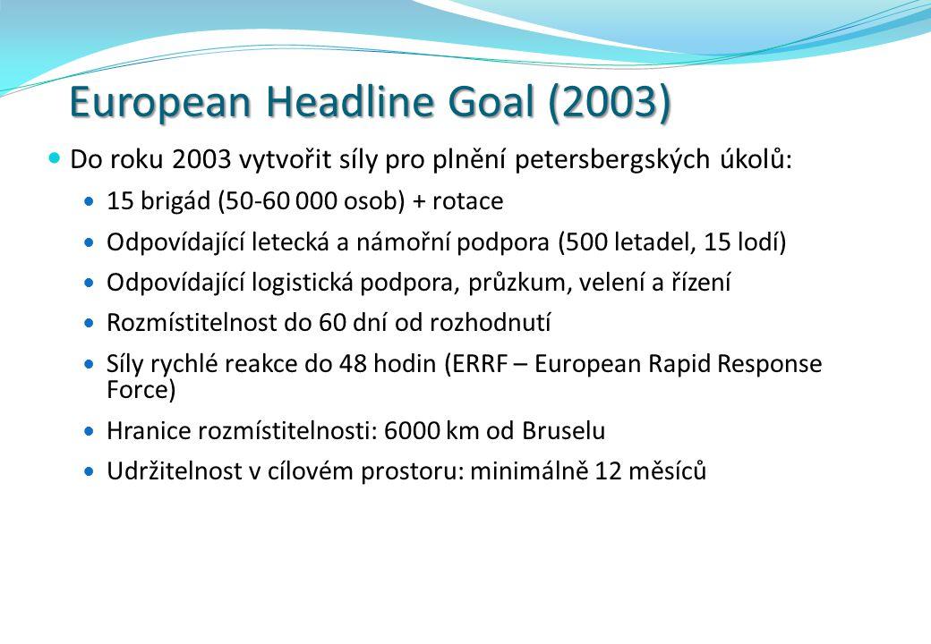European Headline Goal (2003) Do roku 2003 vytvořit síly pro plnění petersbergských úkolů: 15 brigád (50-60 000 osob) + rotace Odpovídající letecká a