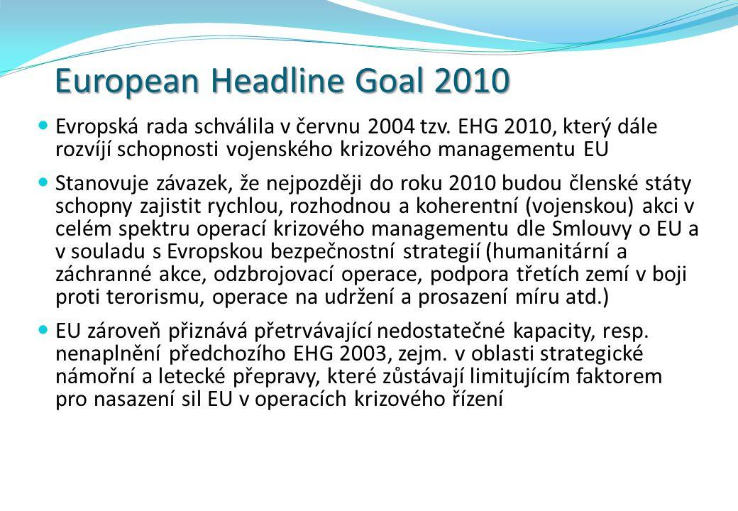 European Headline Goal 2010 Evropská rada schválila v červnu 2004 tzv. EHG 2010, který dále rozvíjí schopnosti vojenského krizového managementu EU Sta