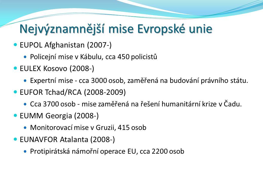 Nejvýznamnější mise Evropské unie EUPOL Afghanistan (2007-) Policejní mise v Kábulu, cca 450 policistů EULEX Kosovo (2008-) Expertní mise - cca 3000 o