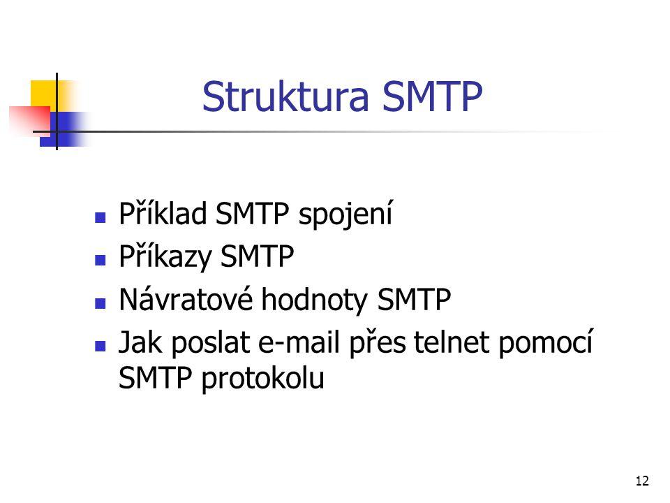 12 Struktura SMTP Příklad SMTP spojení Příkazy SMTP Návratové hodnoty SMTP Jak poslat e-mail přes telnet pomocí SMTP protokolu