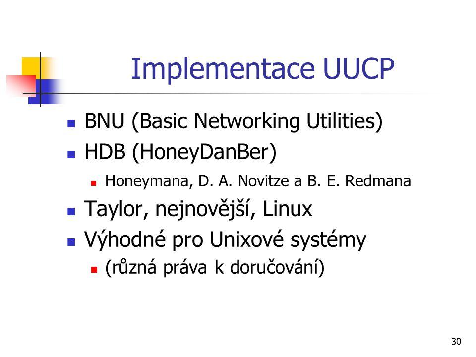 30 Implementace UUCP BNU (Basic Networking Utilities) HDB (HoneyDanBer) Honeymana, D. A. Novitze a B. E. Redmana Taylor, nejnovější, Linux Výhodné pro