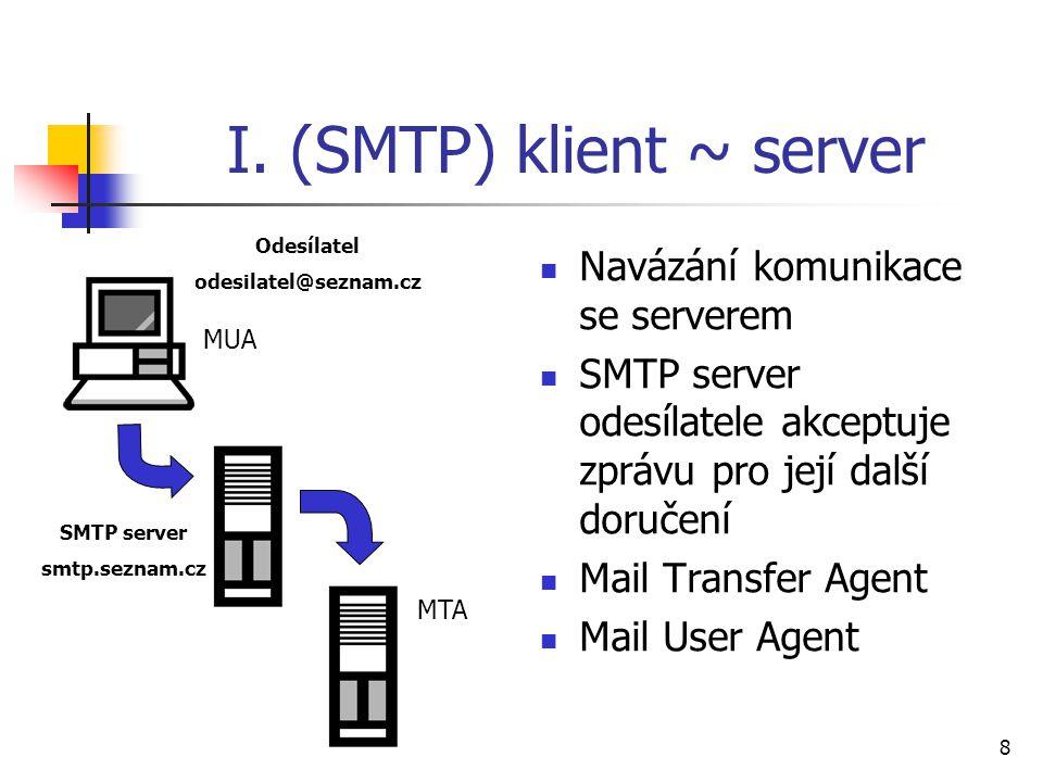 8 I. (SMTP) klient ~ server Navázání komunikace se serverem SMTP server odesílatele akceptuje zprávu pro její další doručení Mail Transfer Agent Mail